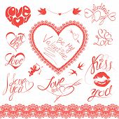 Set Of Holiday Card Design Elements. Happy Valentine`s Day. Calligraphic Text - I Love You, Be My Va