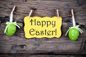 Yellow Easter Label With Happy Easter