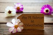 Label With German Text Valentinstag With Cosmea Blossoms