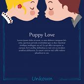 Template of puppy love kiss