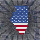 Illinois map flag on dollars sunburst illustration