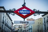 Opera Metro station, oldest street in the capital of Spain, the city of Madrid, its architecture and art