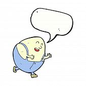 picture of nursery rhyme  - cartoon humpty dumpty egg character with speech bubble - JPG