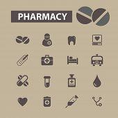 pharmacy icons set, vector
