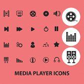 media, audio, cinema player icons set, vector