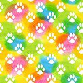 pic of animal footprint  - Seamless pattern with animal footprint texture - JPG