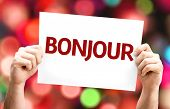 Good Morning (in French) card with colorful background with defocused lights