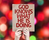 God Knows What He is Doing card with colorful background with defocused lights