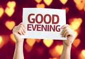 Good Evening card with heart bokeh background
