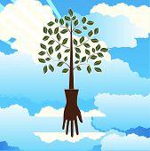 Human nature hand tree environmental