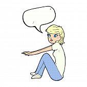 cartoon pretty girl sitting with speech bubble