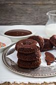 Stack of homemade baked chocolate donuts