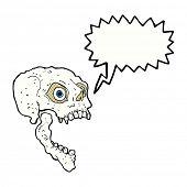 cartoon scary skull with speech bubble