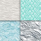 Neutral hand drawn doodle seamless patterns set