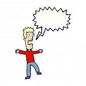 cartoon terrified man with speech bubble
