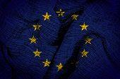 Euro flag on fabric surface