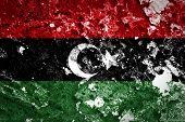 Libya Flag painted on grunge wall