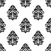 White and black classic floral seamless pattern