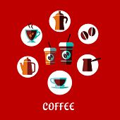 Coffee drink flat concept