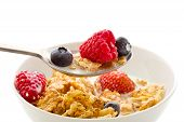 Corn Flakes With Berries - Isolated