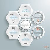 pic of honeycomb  - Infographic with honeycomb structure and gears on the grey background - JPG