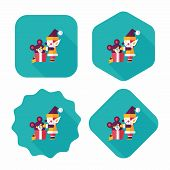 Christmas Elf Flat Icon With Long Shadow,eps10