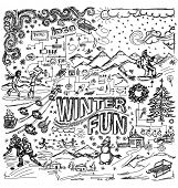 stock photo of snowball-fight  - Vector sketch background with winter fun - JPG