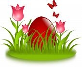 Red Egg In Grass With Tulips