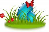 Blue Easter Eggs In Grass
