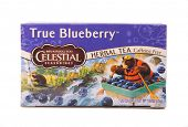 DEPEW, OK, USA - January 11th, 2015: Box of Celestial Seasonings True Blueberry tea. It is a brand of The Hain Celestial Group, founded in 1993 with headquarters in Lake Success, New York, USA