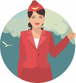 Stewardess In A Round Emblem