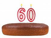 Birthday Cake With Candles Number 60 Isolated