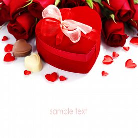 stock photo of text-box  - Valentine composition with roses and gift box over white  - JPG