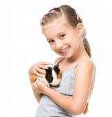picture of guinea pig  - Cute little girl holding a guinea pig - JPG