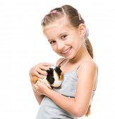 stock photo of porpoise  - Cute little girl holding a guinea pig - JPG