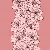 image of geranium  - Seamless geranium flowers border on pink background - JPG