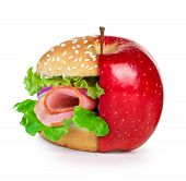 stock photo of tropical food  - concept of dieting healthy eating choices and fast food - JPG