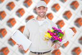 pic of red roof  - Happy flower delivery man holding clipboard against red roofed 3d houses - JPG