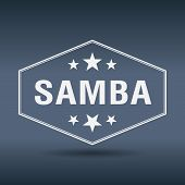 pic of samba  - samba hexagonal white vintage retro style label - JPG