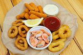 stock photo of dipping  - Shrimps - JPG