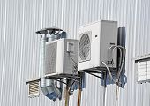 image of ventilator  - Industrial air conditioning and ventilation systems on a wall - JPG