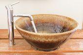 stock photo of wash-basin  - Hand washing basin in bathroom retro style - JPG