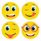 pic of emoticons  - Set of basic emoticons in flat design - JPG