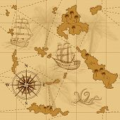 foto of kraken  - seamless old map with a compass and ships in yellow - JPG