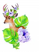stock photo of deer horn  - portrait of a deer with tropical summer flowers in his antlers - JPG