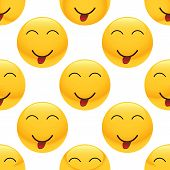 picture of emoticons  - Vector teasing emoticon repeated on white background - JPG