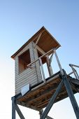 stock photo of lifeguard  - Lifeguard tower on a beach - JPG