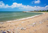 stock photo of polution  - Pollution on the beach of tropical sea - JPG