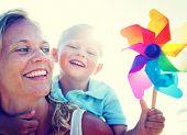 image of bonding  - Mother Son Fun Relaxation Family Bonding Concept - JPG