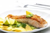 pic of nachos  - grilled salmon fillet with avocado sauce and nachos - JPG